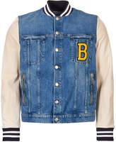 Balmain Jacket Denim and Leather - Blue / White
