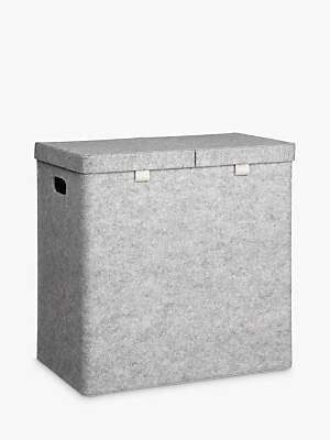 House by John Lewis Felt Double Laundry Basket, Grey