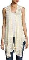 Madison & Berkeley Sleeveless Floral Back-Lace Vest, Light Beige