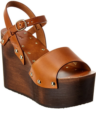 Celine Les Bois Leather Wedge Sandal