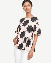 Ann Taylor Floral Ruffle Mixed Media Tee