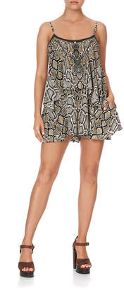 Camilla Printed Flare Romper with Overlay