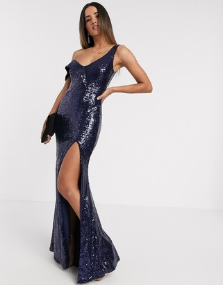 Goddiva off shoulder bandeau sequin maxi dress in navy