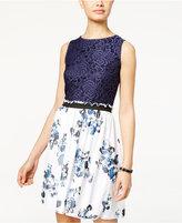 Speechless Juniors' Lace Floral-Print A-Line Dress