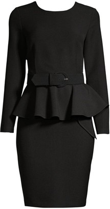 Donna Karan Double Crepe Peplum Sheath Dress