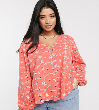ASOS DESIGN Curve swing top with v neck in contrast broidery with puff sleeve