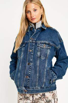 BDG Dark Wash Western Denim Trucker Jacket - blue S at Urban Outfitters