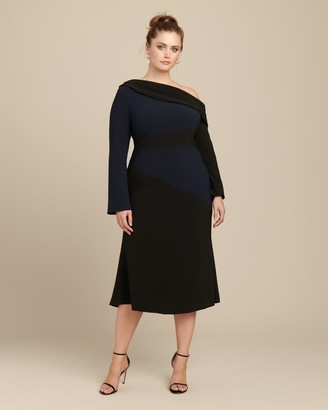 Christian Siriano Long Sleeve Side Drape Dress