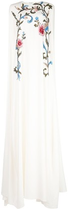 Oscar de la Renta Sequin Embellished Cape Gown