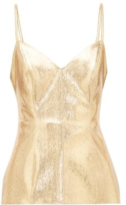 Hillier Bartley Snake-effect Lame Top - Womens - Gold