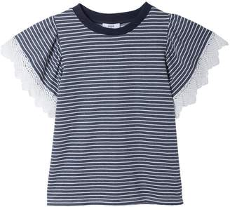 Suncoo Suzy Striped Lace T-Shirt