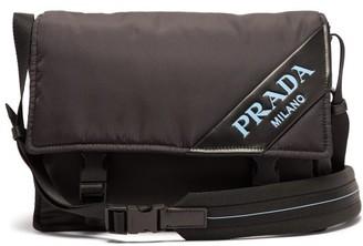 Prada Logo Nylon Messenger Bag - Black