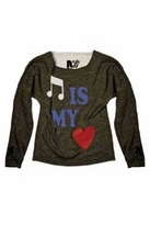 Rebel Yell Music is My Heart Cut Off Pullover in Heather Grey