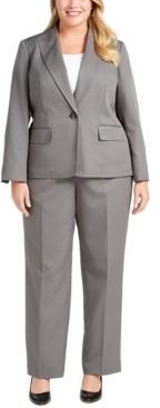 Le Suit Plus Size One-Button Pinstriped Pantsuit