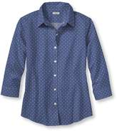 L.L. Bean L.L.Bean Wrinkle-Free Pinpoint Oxford Shirt, Three-Quarter-Sleeve Dot