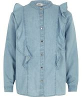 River Island Girls light blue denim frill shirt
