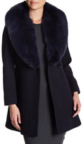 Sofia Cashmere Oversized Genuine Dyed Blue Fox Fur Wool Blend Wrap Coat