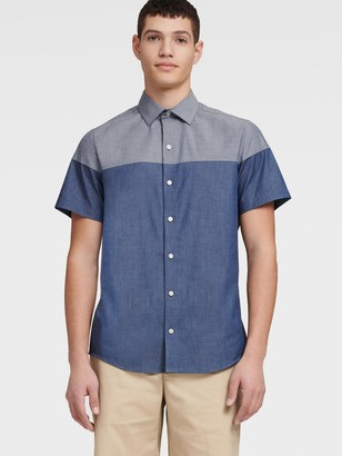 DKNY Men's Short Sleeve Color Block Shirt - Coronet Blue - Size XS