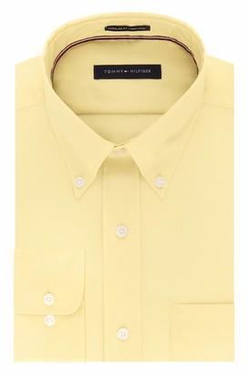 Tommy Hilfiger Men's Dress Shirts Non Iron Regular Fit Solid Buttondown Collar