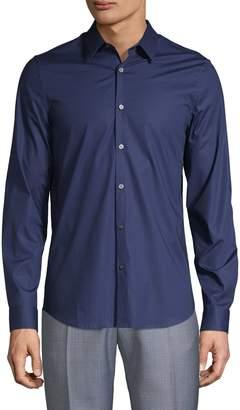 Pure Navy Spread-Collar Long-Sleeve Shirt