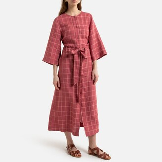 La Redoute Collections Checked Linen Midi Shirt Dress with Crew Neck