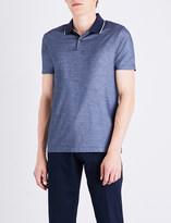 HUGO BOSS Geometric-patterned cotton-piqué polo shirt