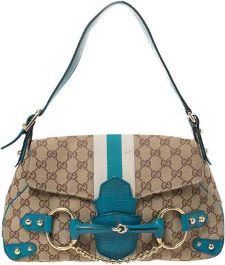 Gucci Beige/Blue GG Canvas and Leather Flap Horsebit Shoulder Bag