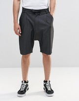 Asos Drop Crotch Tailored Shorts With Tie Waist in Charcoal