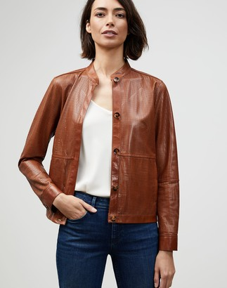 Lafayette 148 New York Lacquered Lambskin Perforated Becker Bomber Jacket