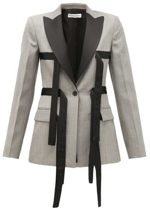 J.W.Anderson Single-breasted Contrast-strap Wool Blazer - Grey