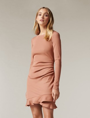 Forever New Annie Rib Long Sleeve Frill Dress - Rust - 10