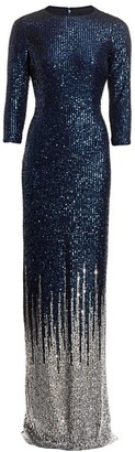 Teri Jon by Rickie Freeman Sequin-Embellished Knit Gown