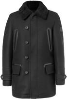 Belstaff Saddleworth Leather and Shearling-Trimmed Virgin Wool-Blend Coat