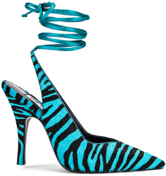 ATTICO Zebra High Heel Slingback in Black & Electric Blue | FWRD