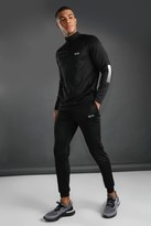 boohoo Mens Black MAN Active Funnel Neck Tracksuit With Reflective, Black
