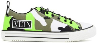 Valentino Giggies Camouflage-print Canvas Trainers - Green Multi