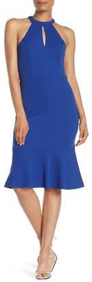 Bebe Halter Bottom Flare Dress