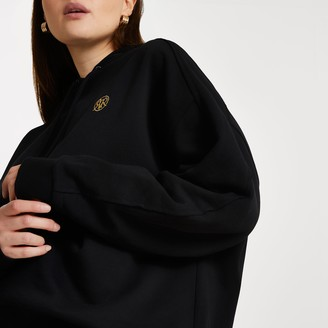 River Island Womens Plus Black long sleeve 'RR' hoodie