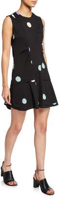 Derek Lam 10 Crosby Sleeveless Dot-Print Dress with Ruffle Hem
