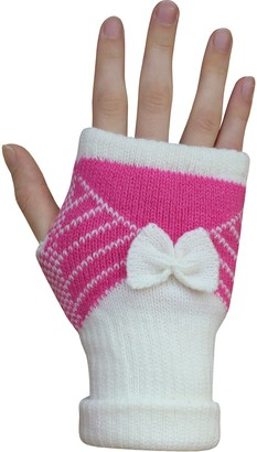Teddyt's Women's Thermal Knitted Winter Fingerless Mittens with Bow (Pink & Cream)