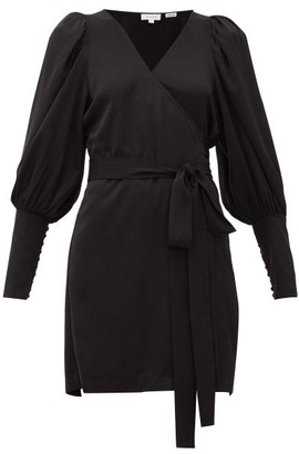 Rhode Resort Frankie V-neck Satin Dress - Black