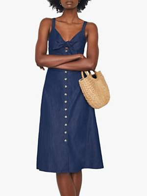 Warehouse Tie Front Dress, Denim
