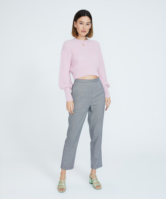 Alice In The Eve Sofia Puff Sleeve Fuzzy Knit Jumper Pink