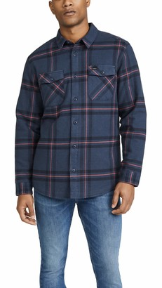 RVCA Men Yield Plaid Button-Up Flannel Red Medium