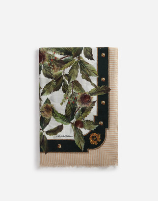Dolce & Gabbana MODAL AND CASHMERE SCARF WITH CHESTNUT PRINT: 135 X 200CM- 53 x 78 INCHES