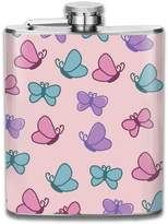 ZhongXiaoStyle Cute And Girly Pattern Full Of Butterflies Stainless Steel 7-Oz Hip Flask & Funnel