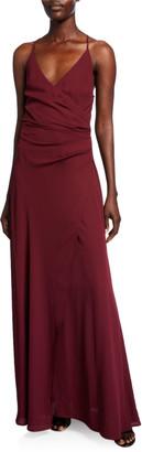 WAYF The Allison Faux Wrap Halter Dress