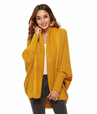 heekpek Women's Cardigan Batwing Long Sleeve Chunky Knit Cardigan Ladies Cardigan Sweater Open Front Cardigan Yellow