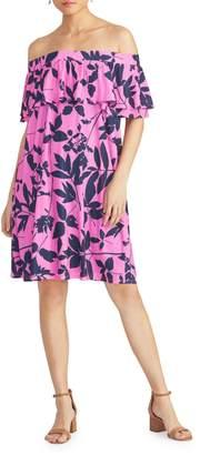 Rachel Roy Libby Leaf-Print Off-The-Shoulder Shift Dress