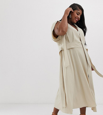 Asos DESIGN Curve plunge neck modern maxi dress with cape sleeves in texture